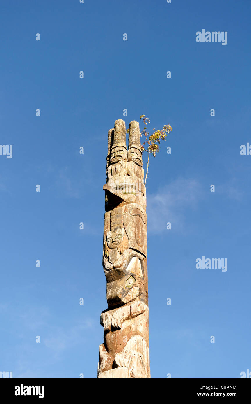 Haida style First Nations totem pole in Cates Park, Deep Cove, British Columbia, Canada - Stock Image