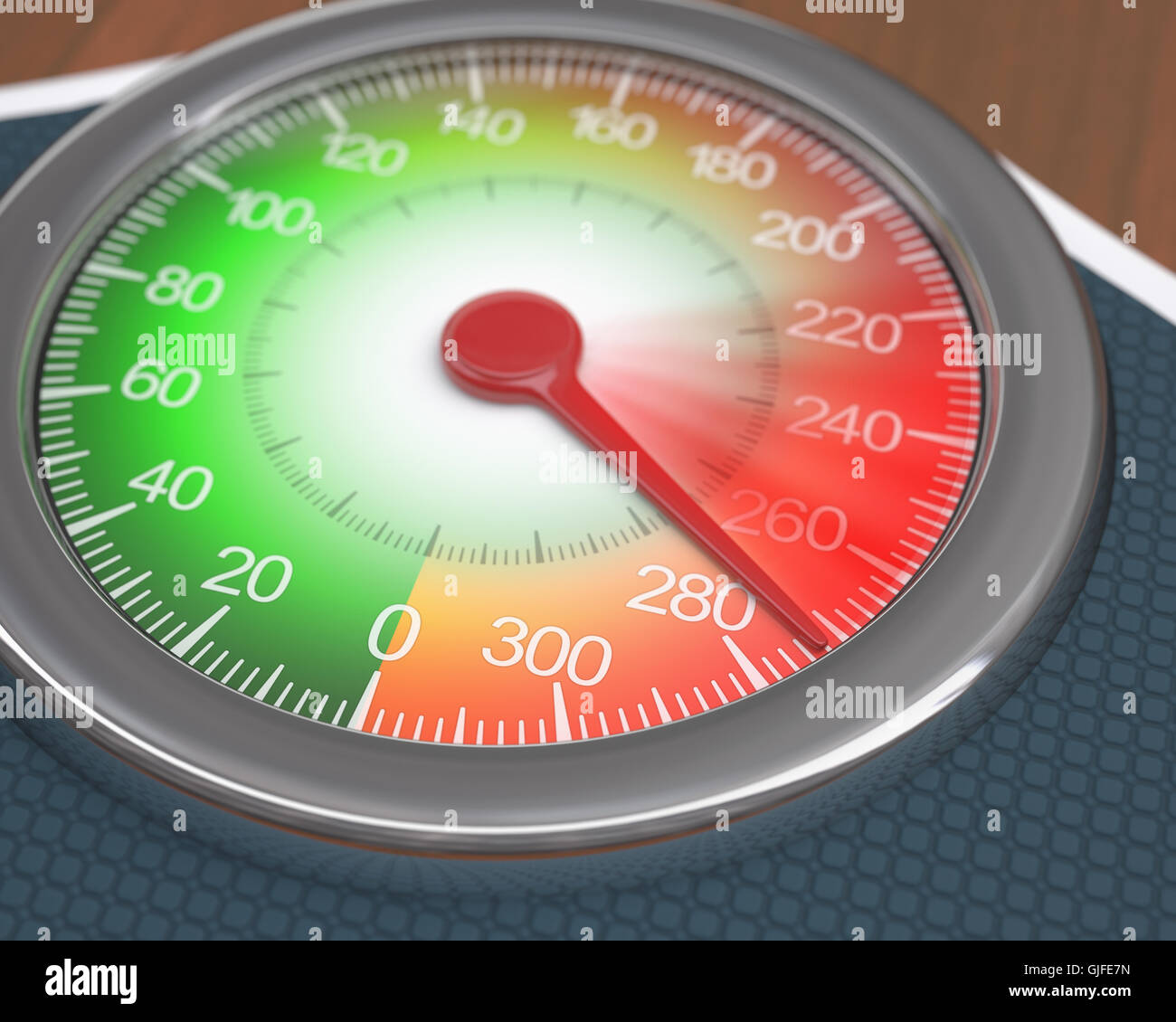 Analogue scale showing the movement on weight gain. - Stock Image