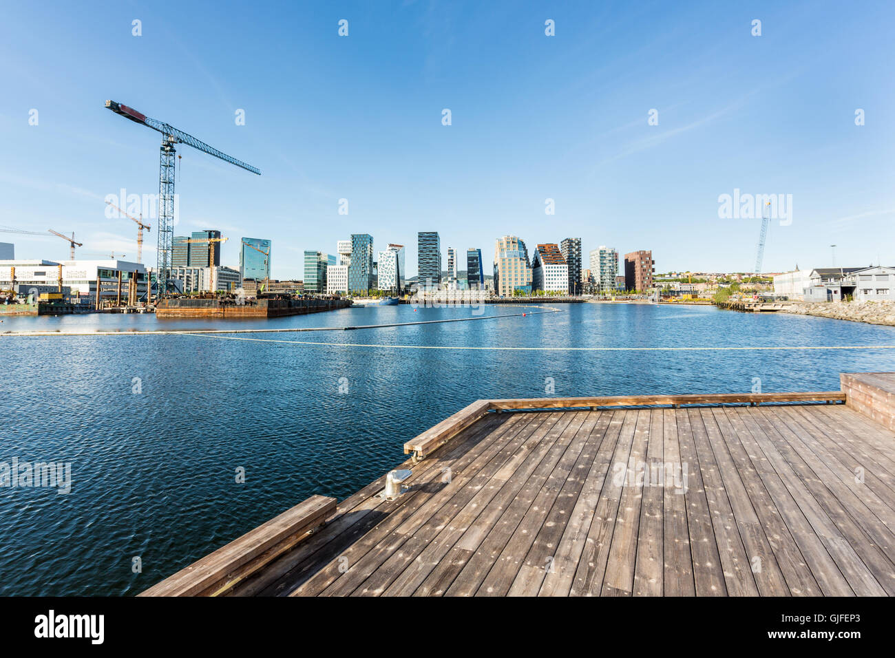 Oslo business district in Norway capital city view from a new developpement of  a residential area in the Oslo fjord - Stock Image