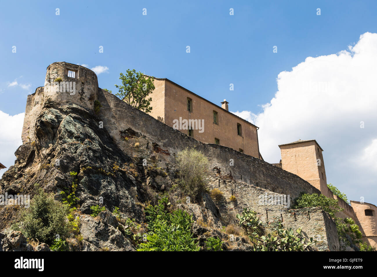 Corte citadel in Corsica island, a popular travel destination in France. - Stock Image