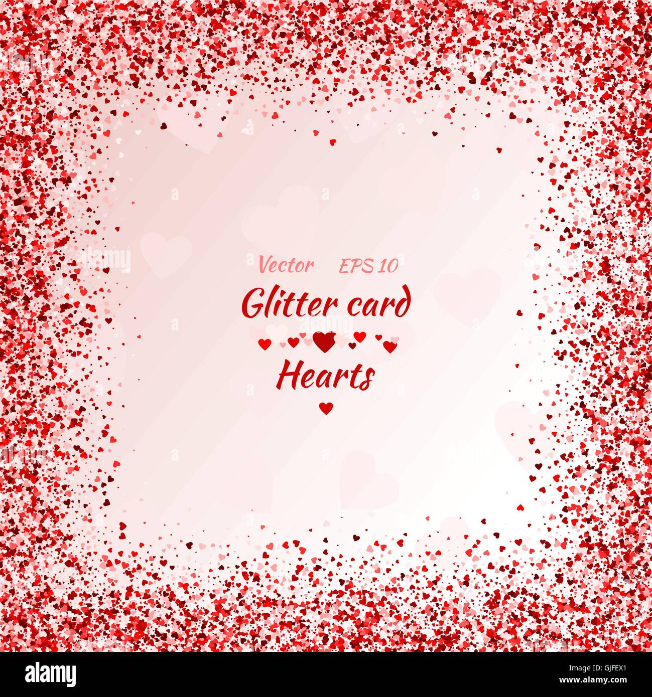 Vector card with shimmer. Greeting card with hearts. Red sparkle. Shimmer. Shiny card. Red sparkles. Frame of hearts. - Stock Image