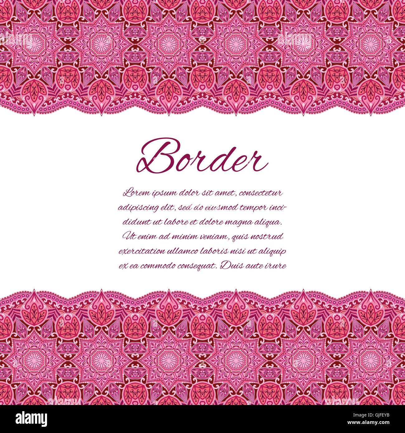 Card With Mandala Border Vector Background Card Or Invitation Red