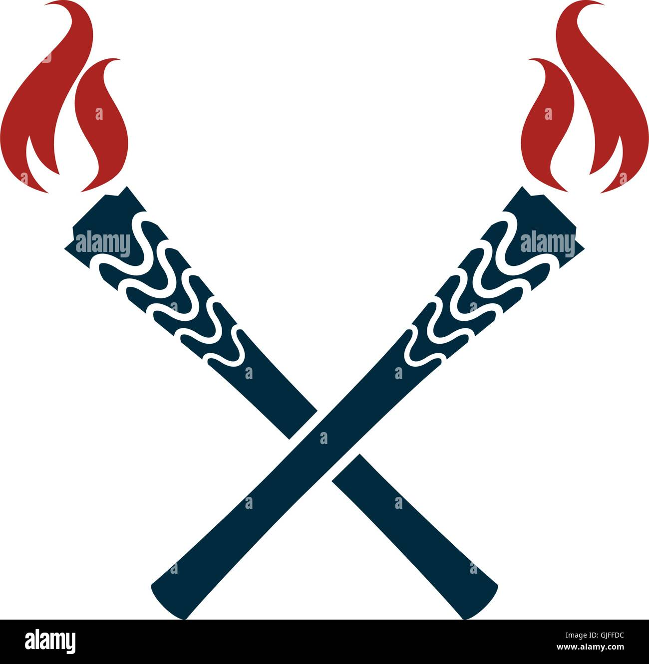 Torch vector icon isolated. Olympic fire. Flambeau flat style logo. - Stock Vector