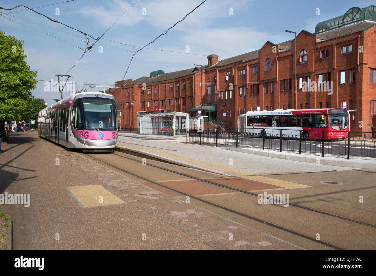 Tram at the Wolverhampton St George's tram stop on Bilston Street in Wolverhampton, England - Stock Image