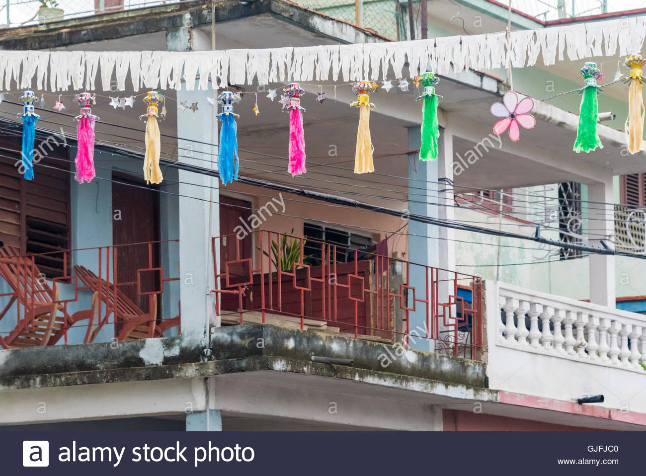 Cuban street decorations for the CDR traditional party. The Revolution Defense Commitee (CDR) celebrate an annual - Stock Image
