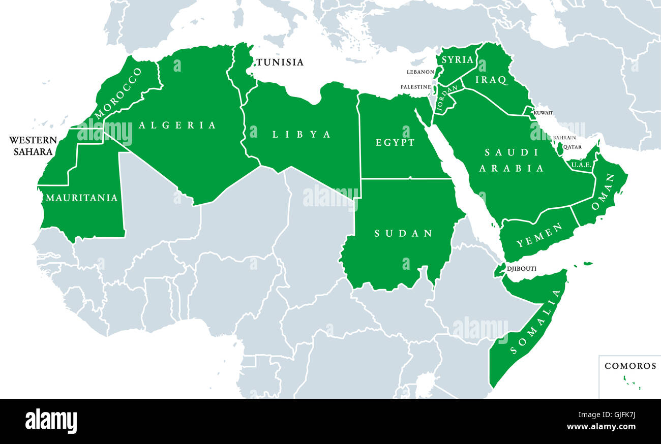 Arab World political map, also called Arab nation, consists of twenty-two arabic-speaking countries of the Arab - Stock Image