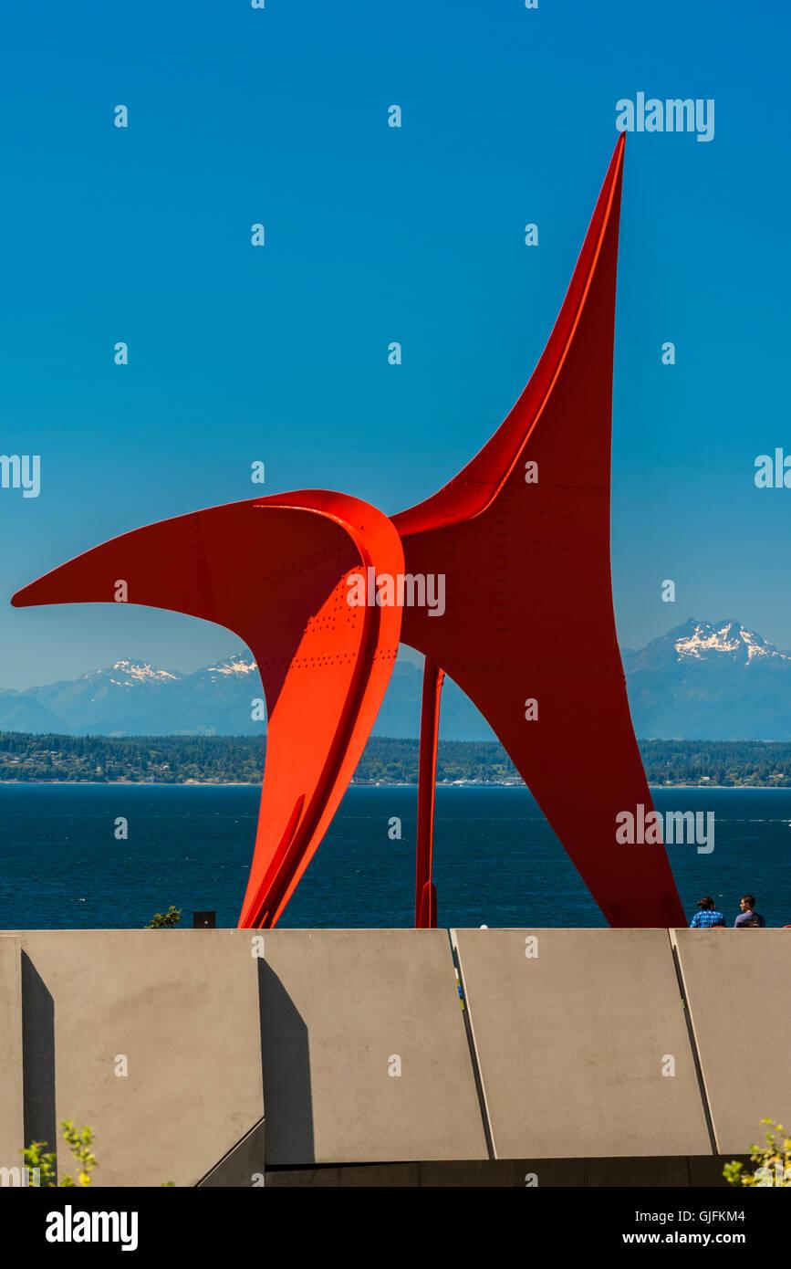 The Eagle sculpture designed by Alexander Calder at Olympic Sculpture Garden, Seattle, Washington, USA - Stock Image