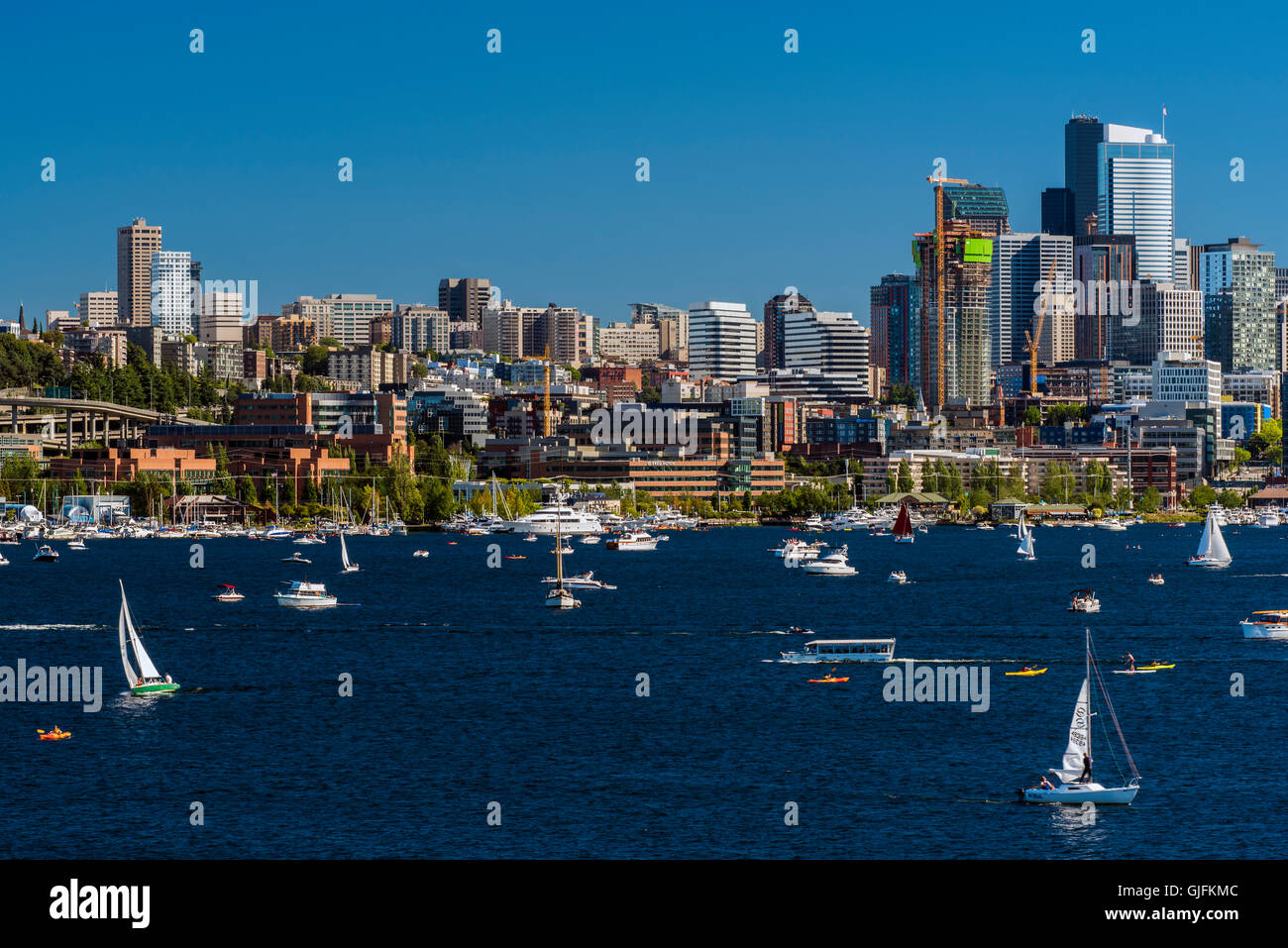 Lake Union and downtown skyline, Seattle, Washington, USA - Stock Image