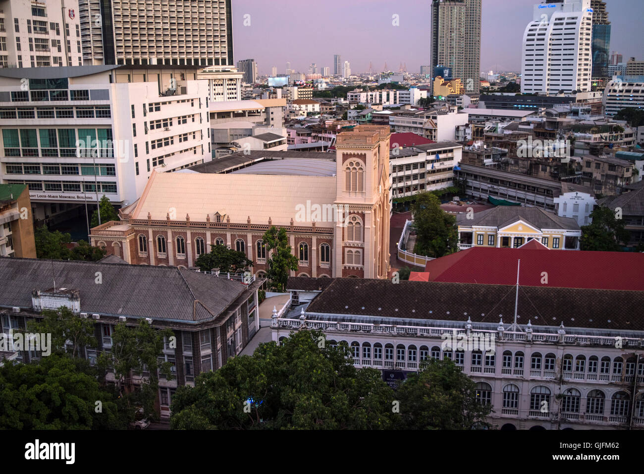 Overview of Central Bangkok, Thailand, Sunset - Stock Image