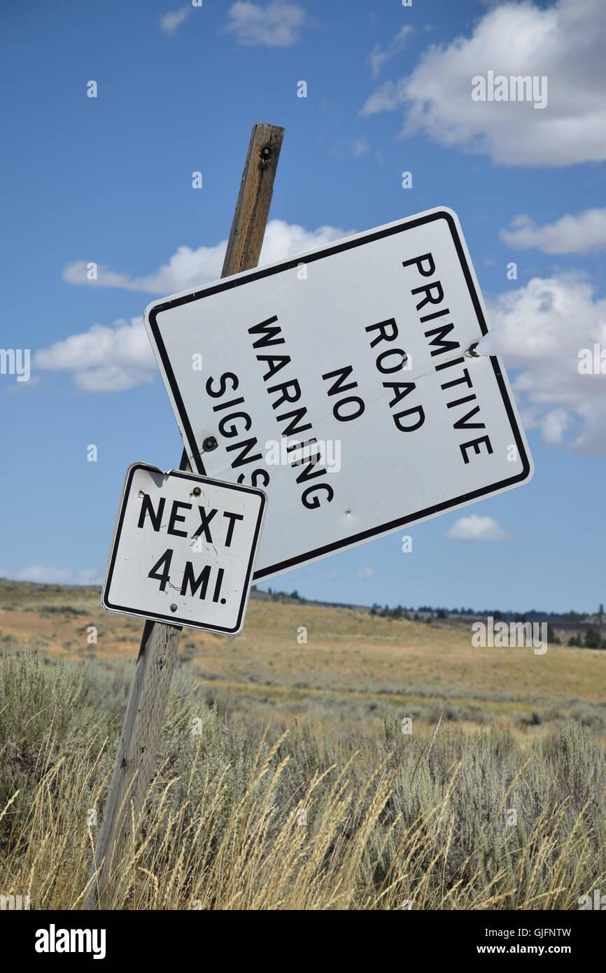 Primitive Road Warning Sign - Stock Image