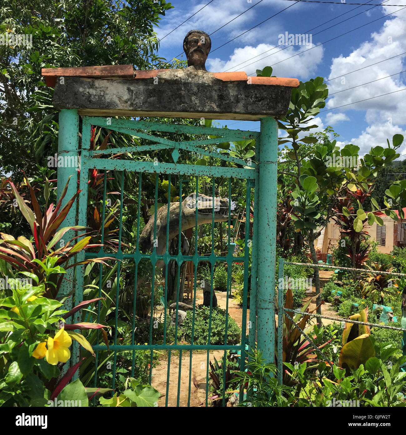The entrance to the small and unusual, Parque Prehistórico museum in Viñales, Cuba. - Stock Image
