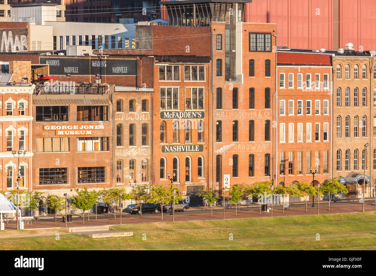 historic front street warehouses now converted for other uses line
