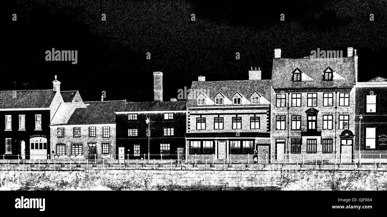 A photograph converted into a line drawing of the riverside buildings in the town of Bewdley, Worcestershire, England, - Stock Image