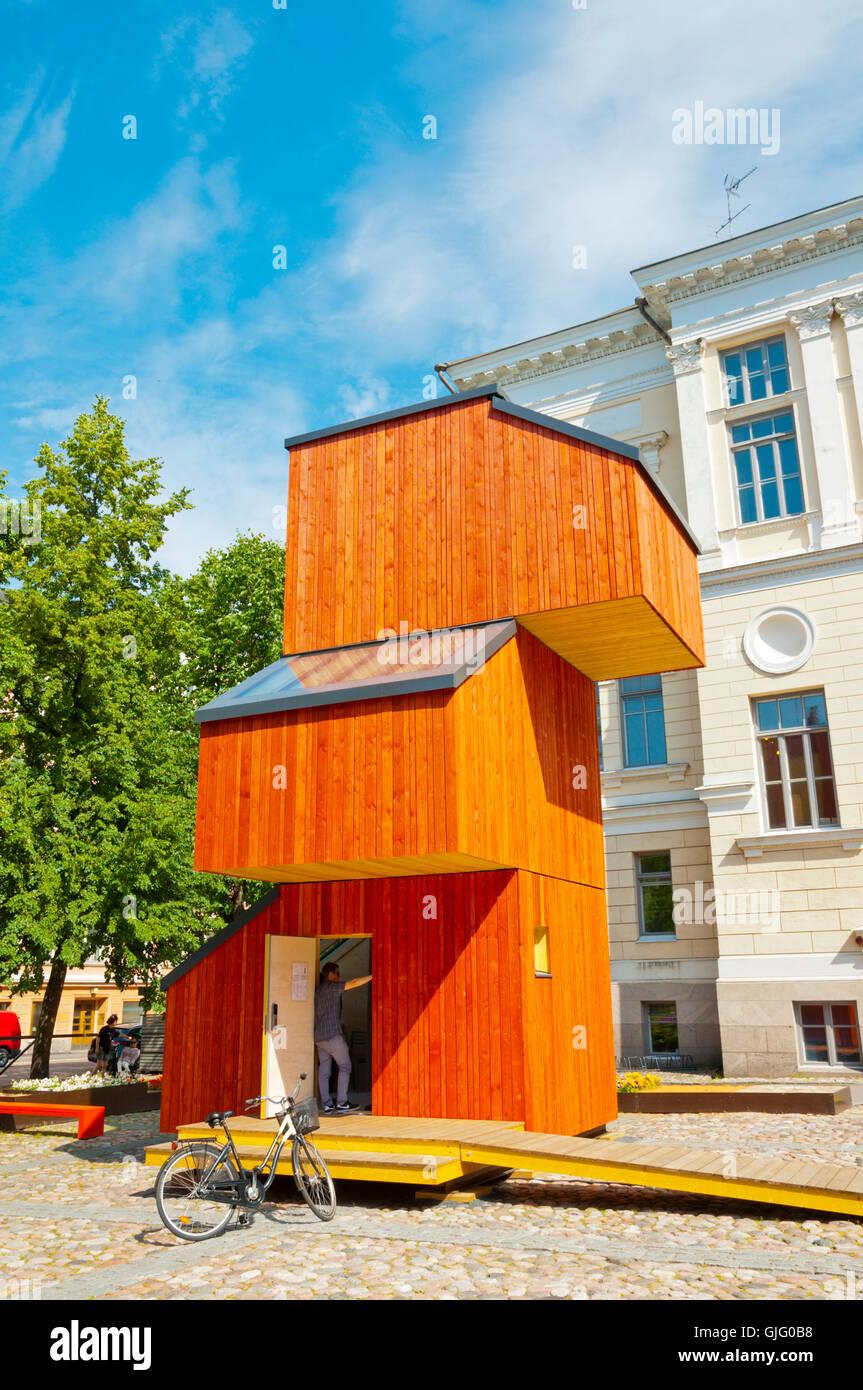 Suomen arkkitehtuurimuseo, Museum of Finnish Architecture, with wooden KoKoon building, Helsinki, Finland Stock Photo