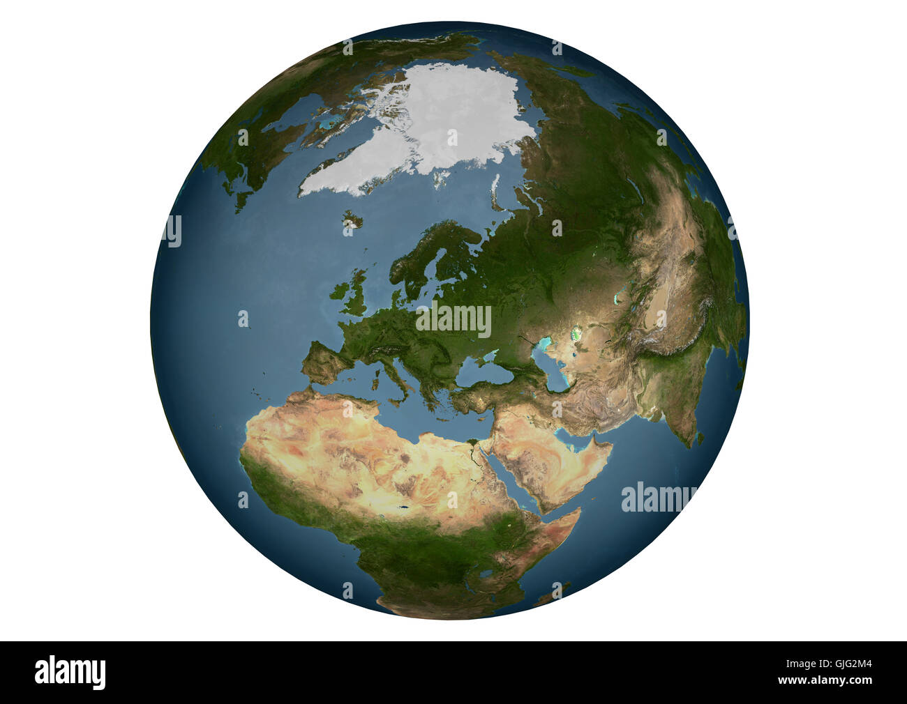 blue marble - europe without clouds - Stock Image