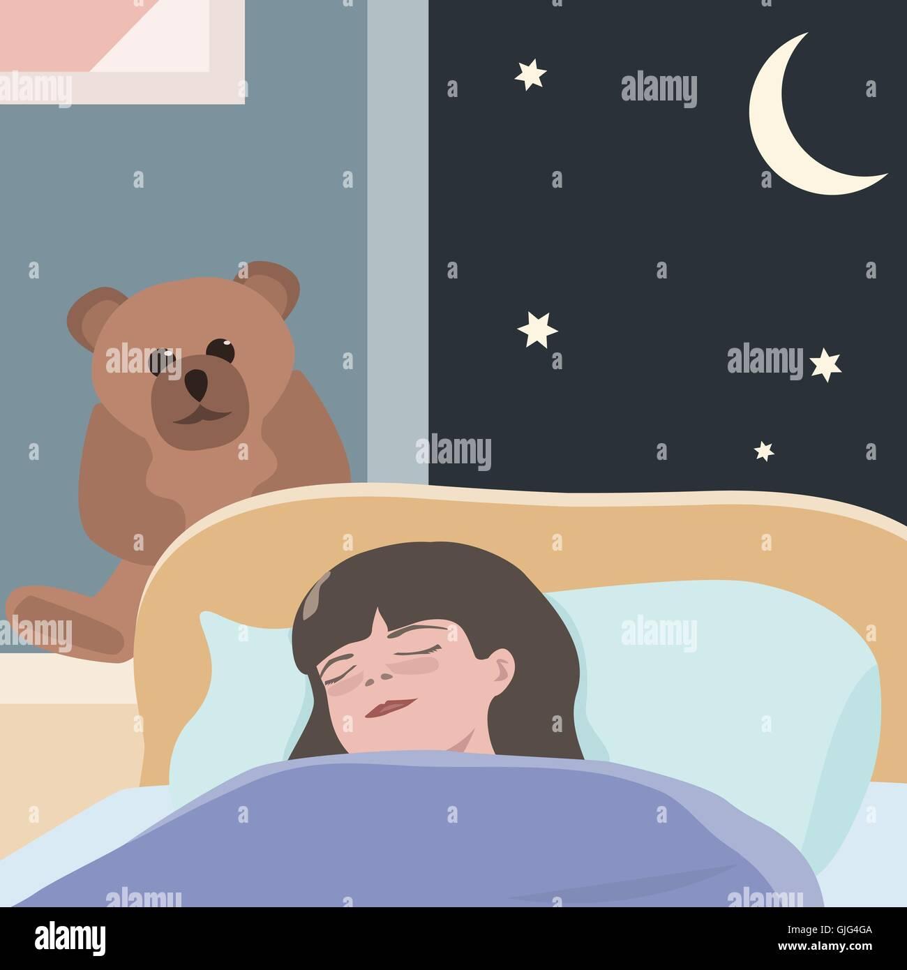 Small Girl Sleeping At Night
