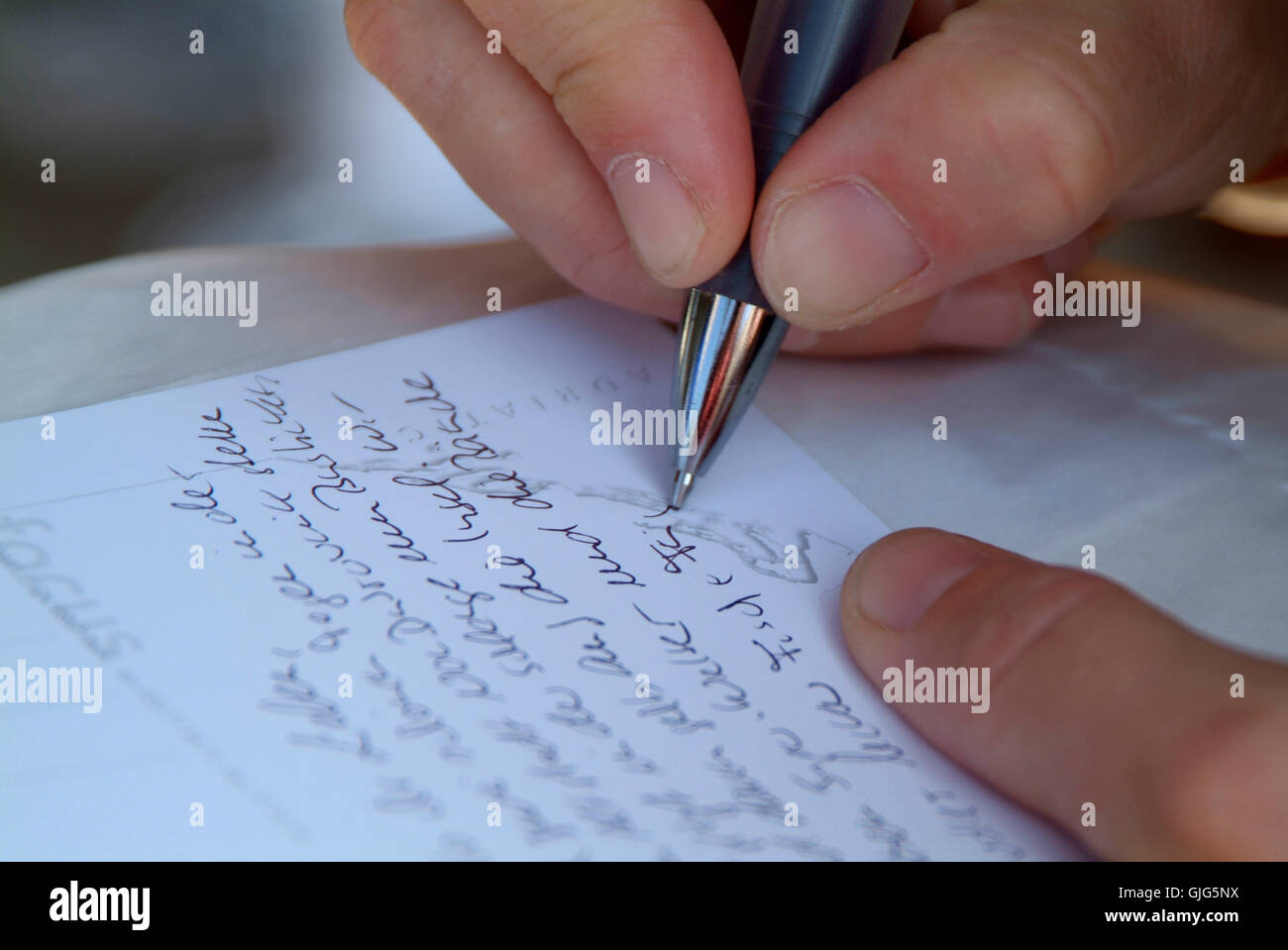 note memo hand - Stock Image