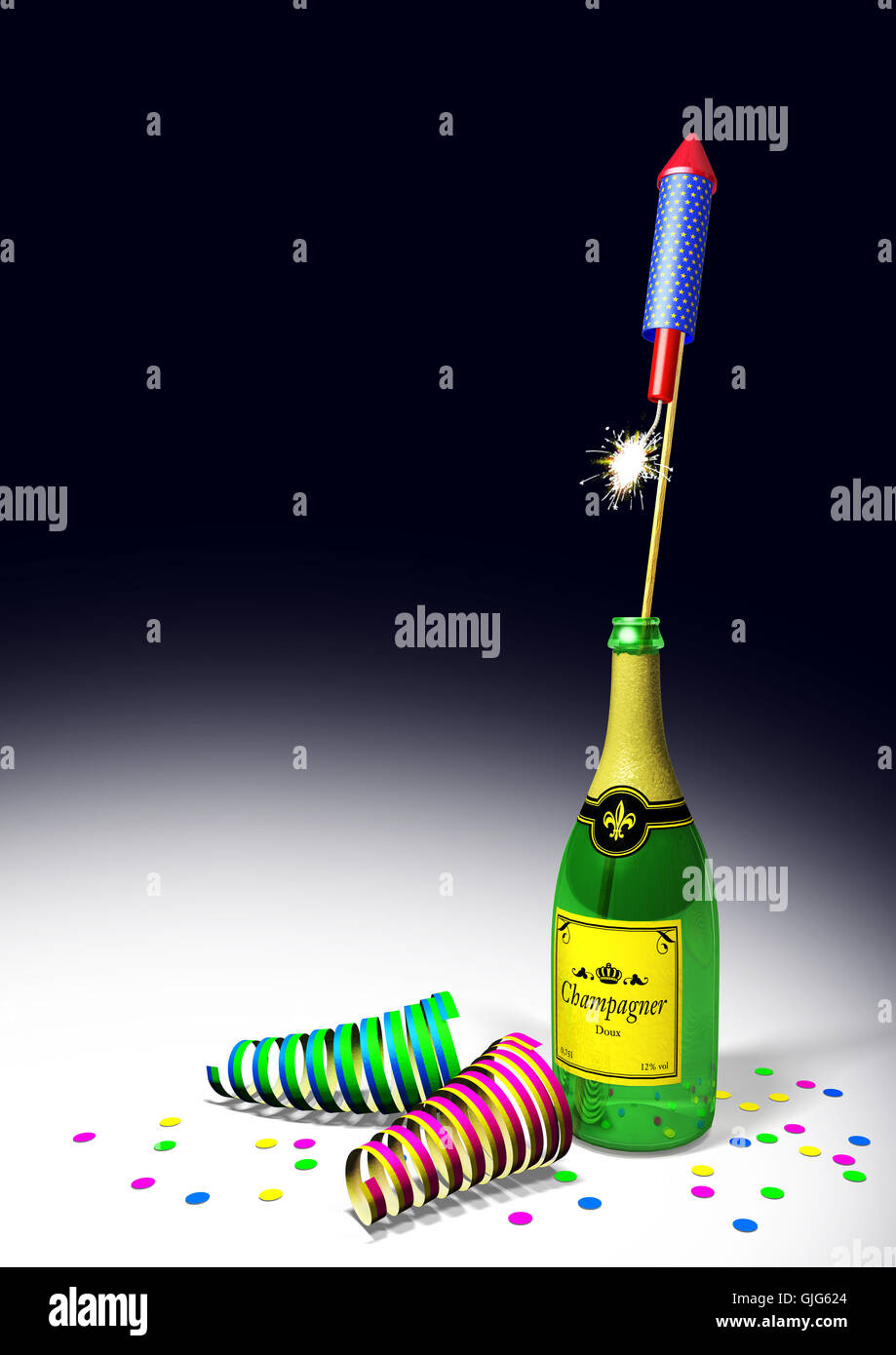 rocket champagne bottle Stock Photo