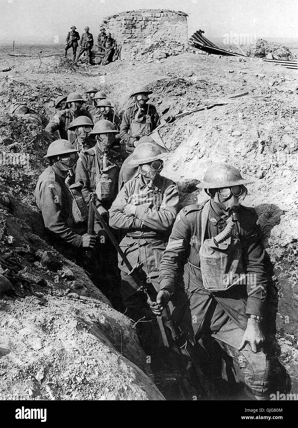Australian infantry wearing Small Box Respirators (SBR). The soldiers are from the 45th Battalion, Australian 4th - Stock Image
