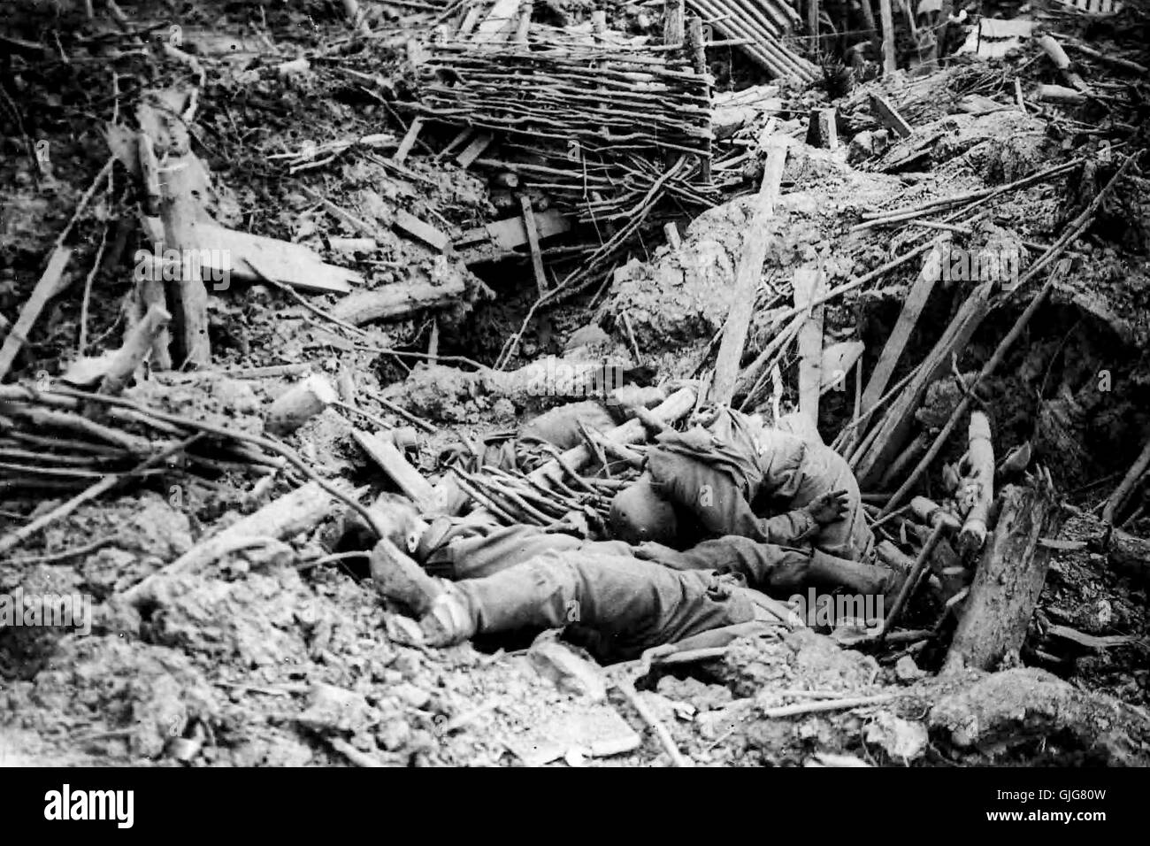 Smashed up German trench on Messines Ridge with dead soldiers, Battle of Ypres, Belgium, World War One - Stock Image