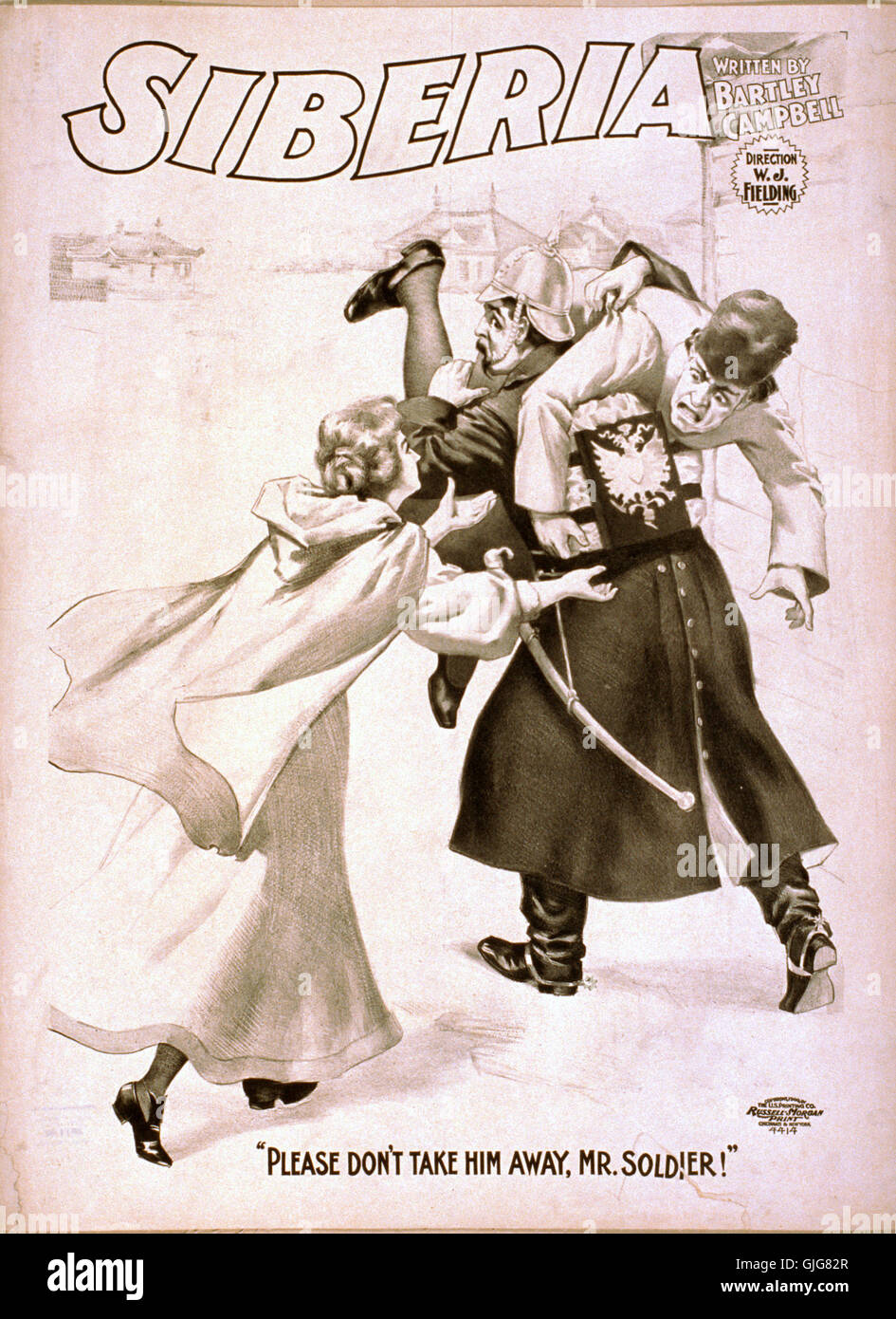 Siberia, poster of play by Bartley Campbell. - Stock Image