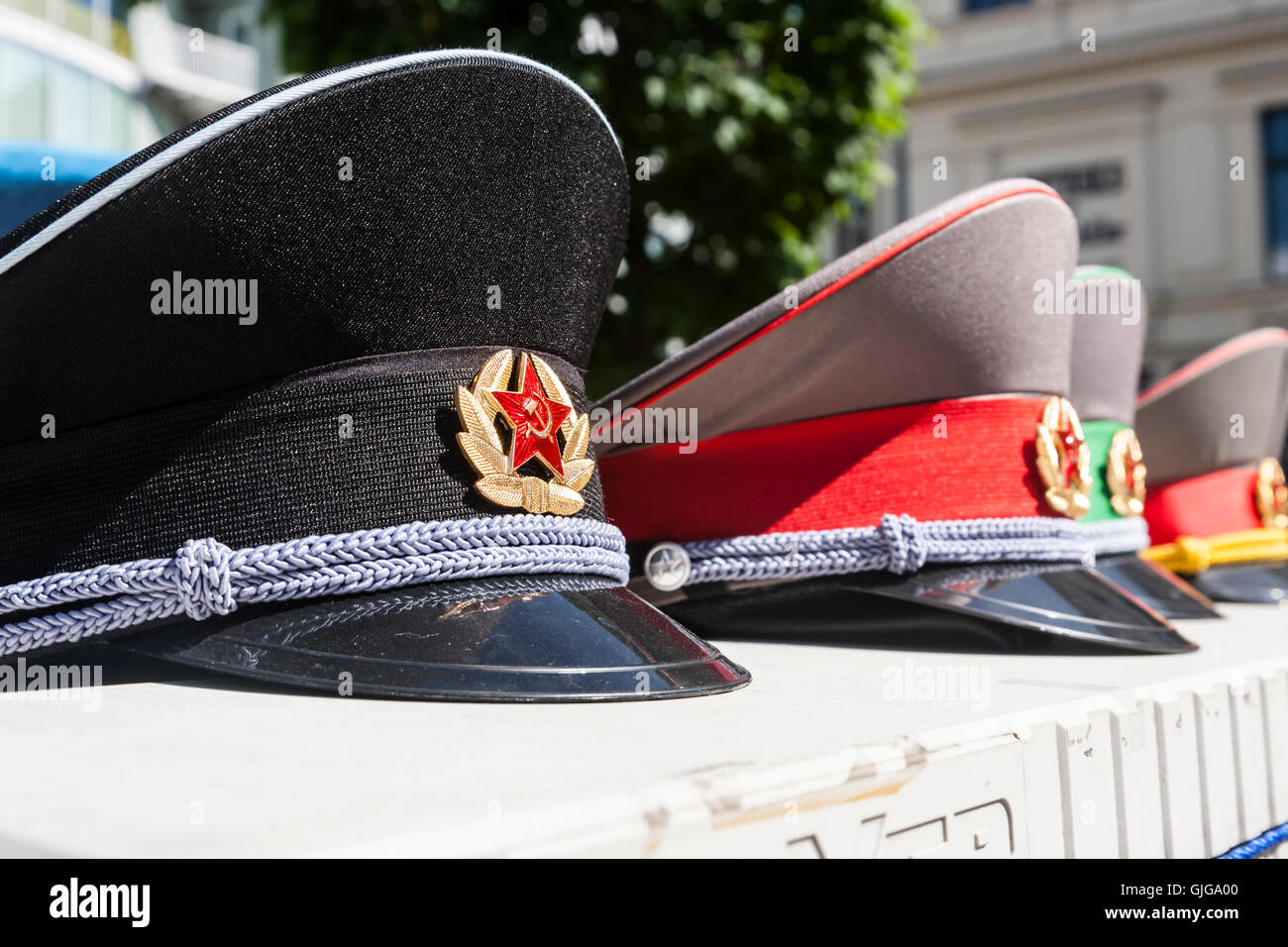 8a8f87b2b79 Soviet Military Hats on sale as souvenirs for tourists at Check Point  Charlie