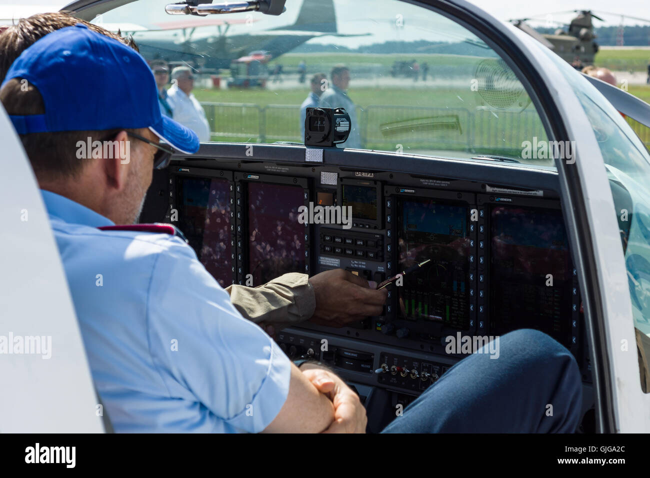 The dashboard and avionics Genesys Aerosystems of two-seat turboprop training and aerobatic low-wing aircraft Grob - Stock Image