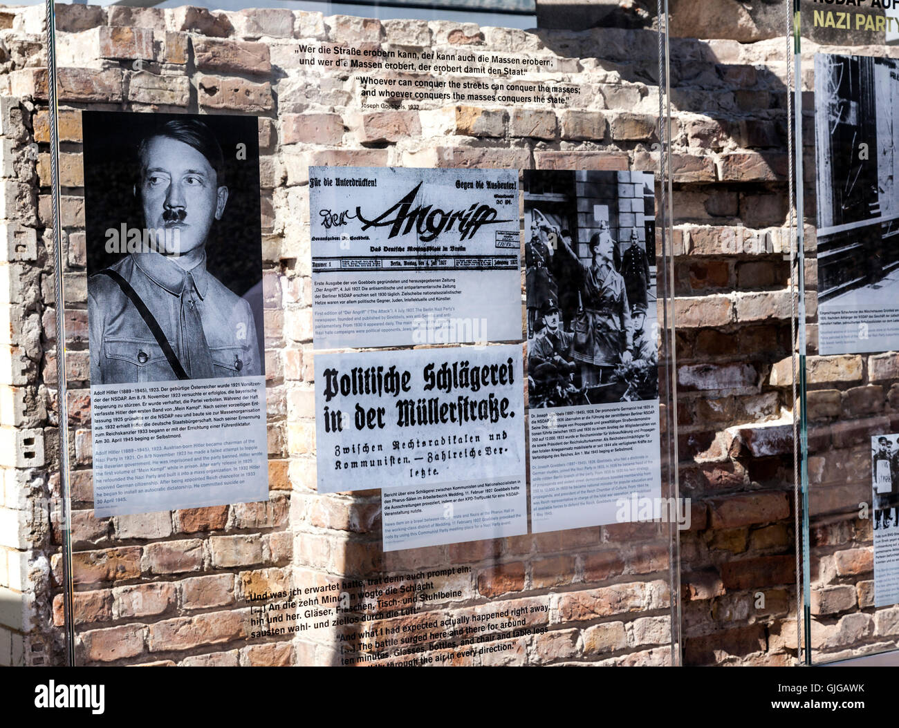 Detail shot of the  Topography of Terror Exhibition, the former  site of Gestapo Headquarters, Mitte, Berlin, Germany. - Stock Image