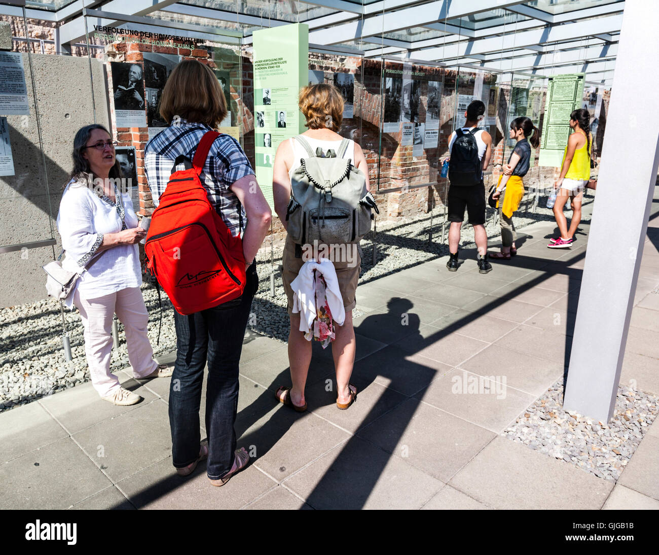 Tourists at the Topography of Terror Exhibition, the former  site of Gestapo Headquarters, Mitte, Berlin, Germany. - Stock Image