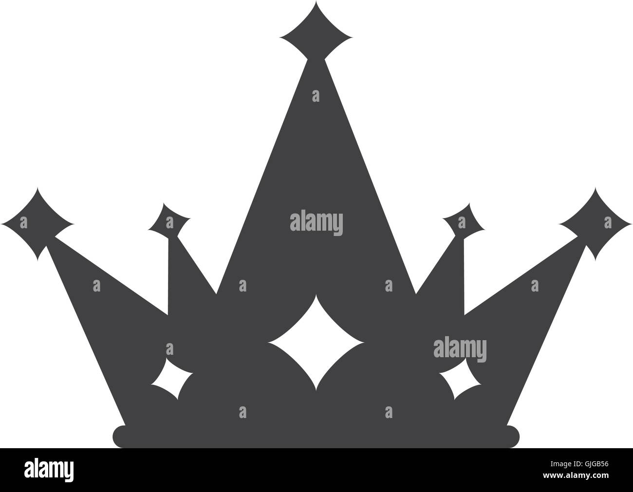 crown silhouette royal king icon. - Stock Image