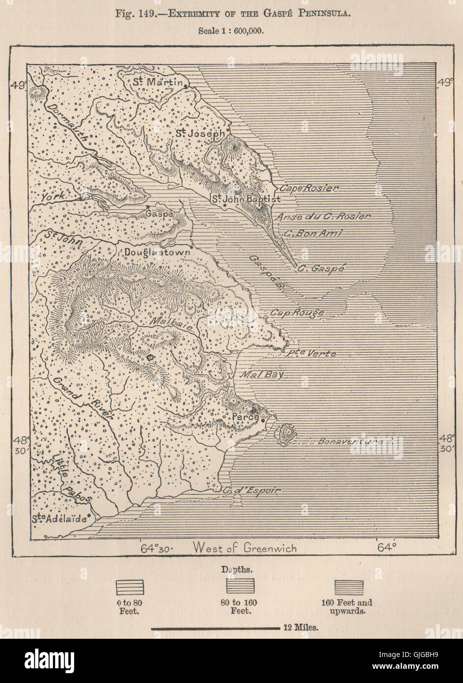Gaspe Canada Map.Extremity Of The Gaspe Peninsula Canada 1885 Antique Map Stock
