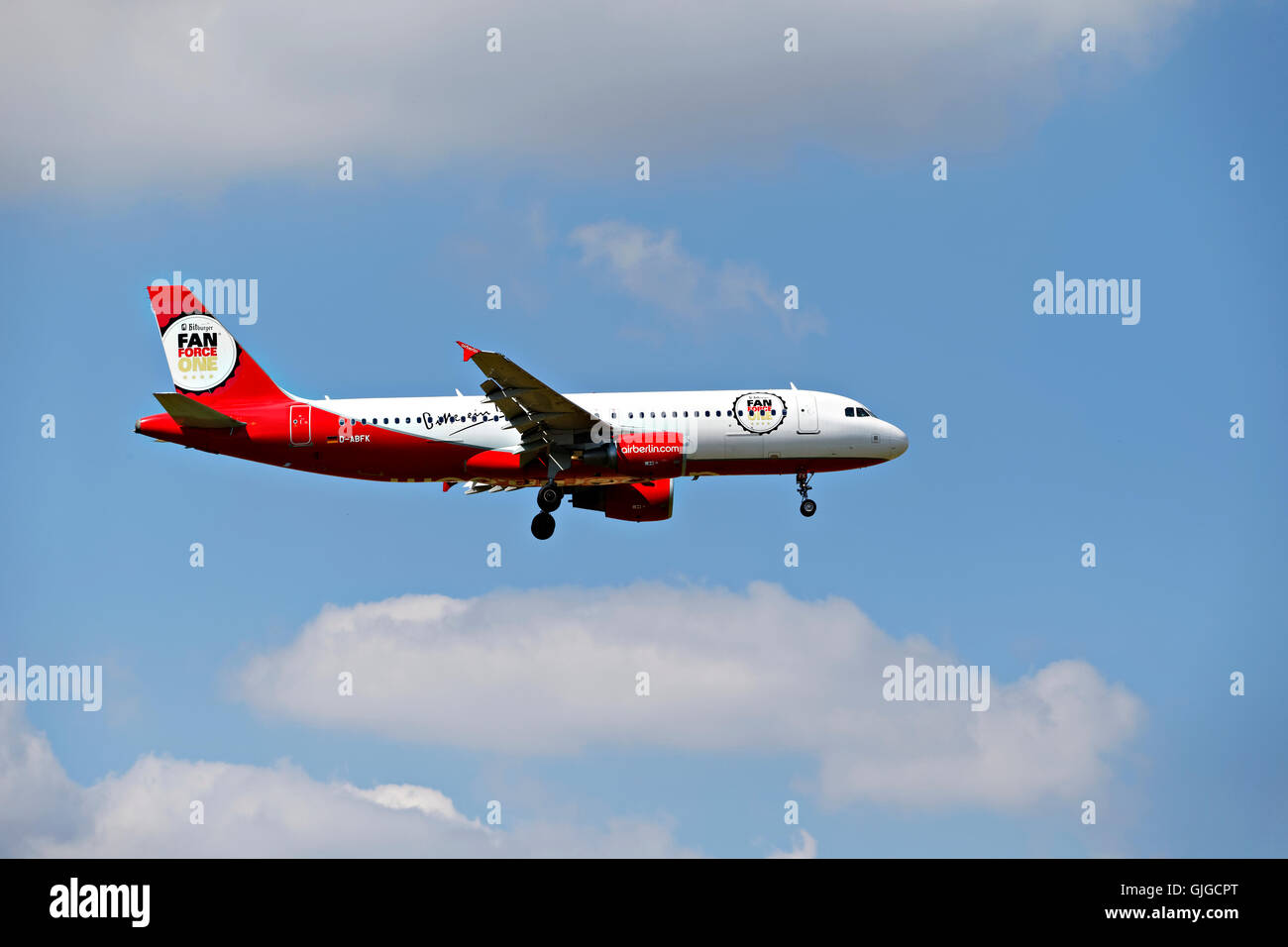 Air Berlin Airbus A320-214 approach to landing at Franz Josef Strauss Airport, Munich, Upper Bavaria, Germany, Europe. - Stock Image