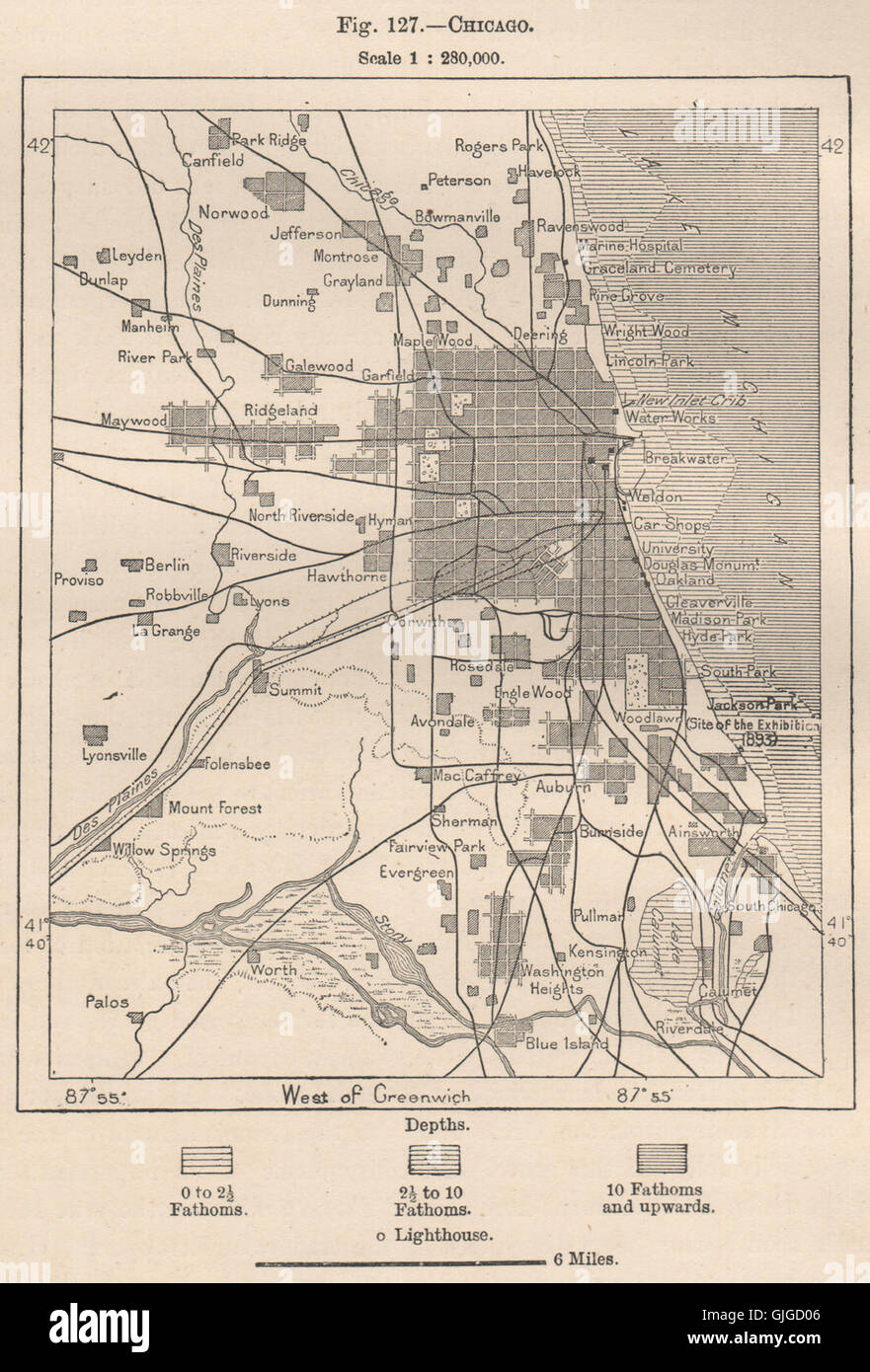 Chicago. Illinois, 1885 antique map Stock Photo: 114687446 - Alamy