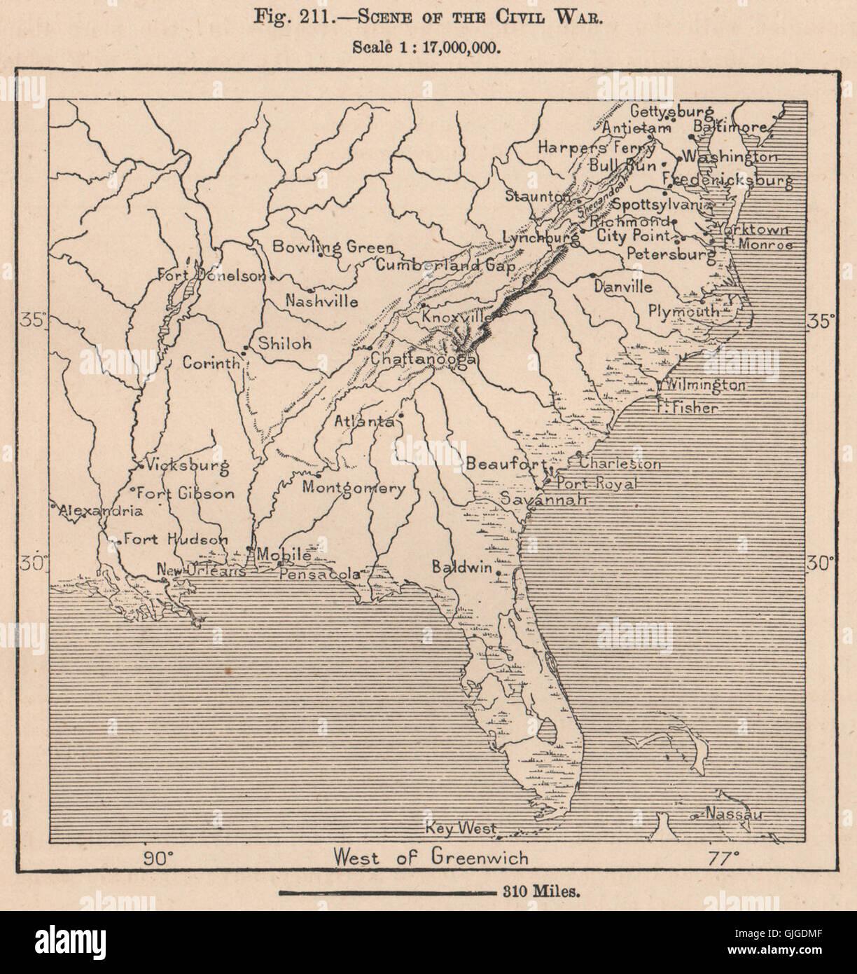 Corinth Washington Map.Scene Of The Civil War Usa United States 1885 Antique Map Stock