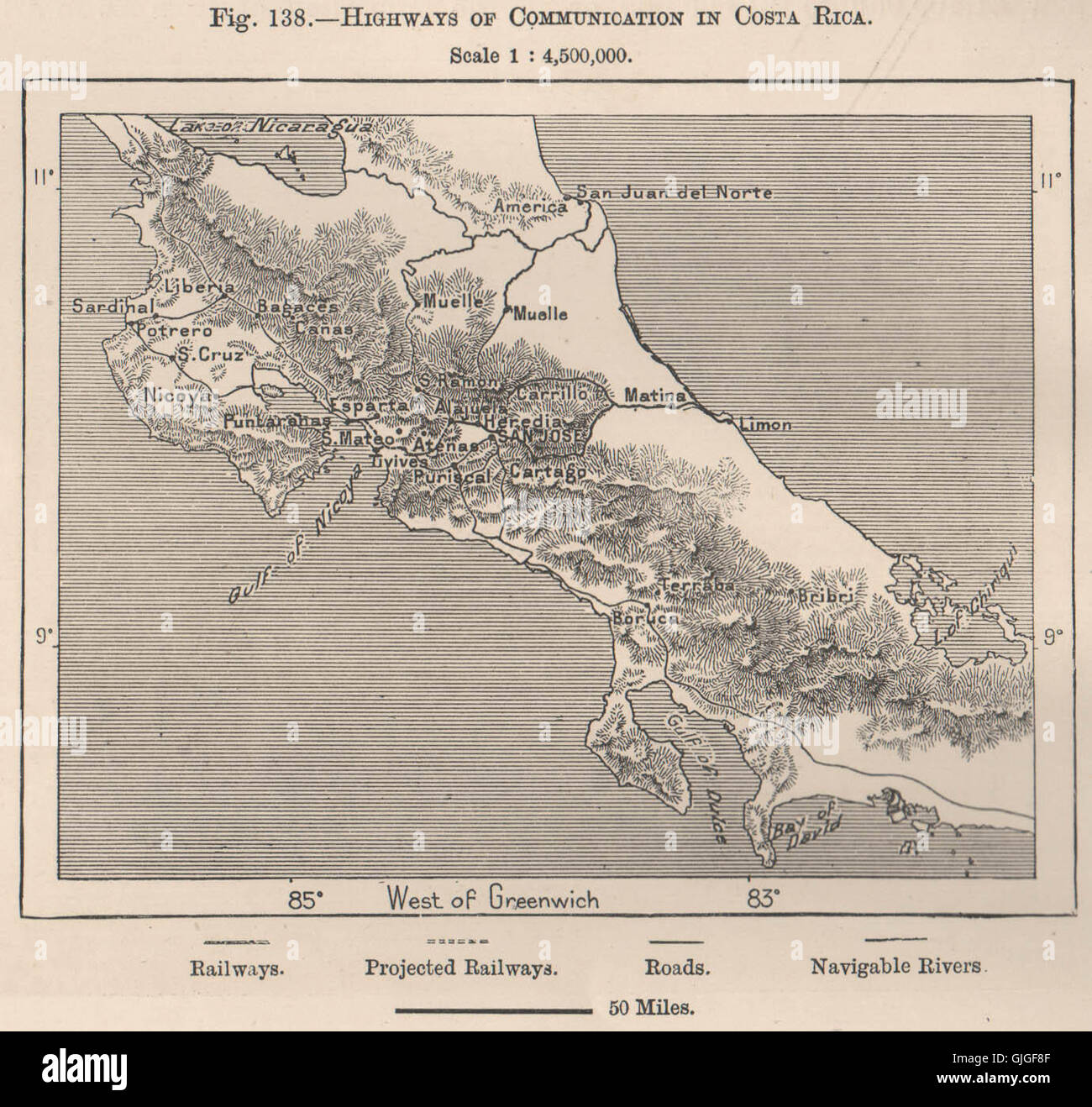 Highways of communication in Costa Rica. Central America, 1885 Stock ...