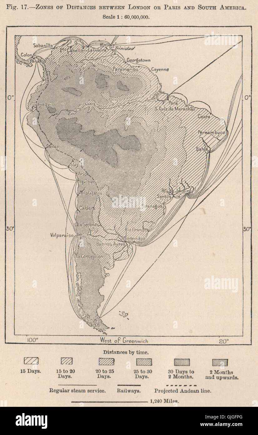 Zones of distances between London or Paris and South America, 1885 antique map - Stock Image