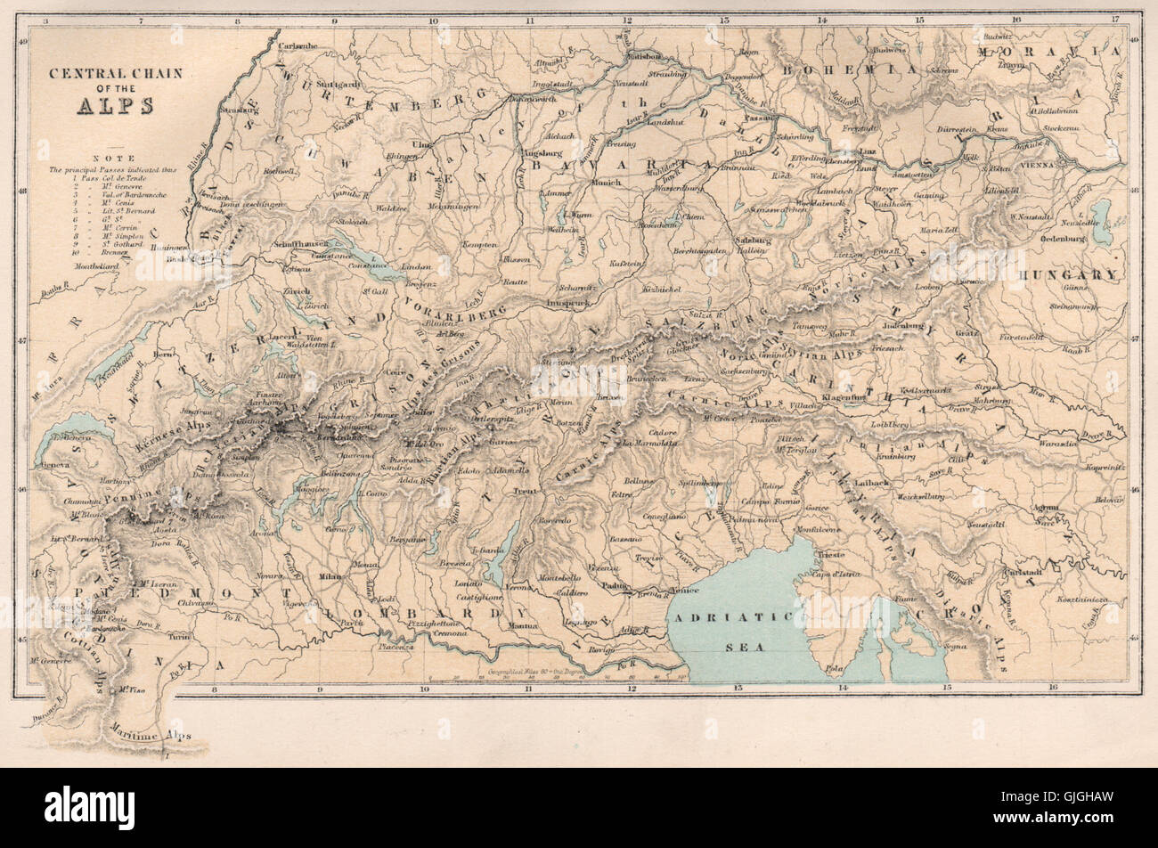 Map Of The Alps In France.The Alps Europe Switzerland Italy France Austria Bartholomew