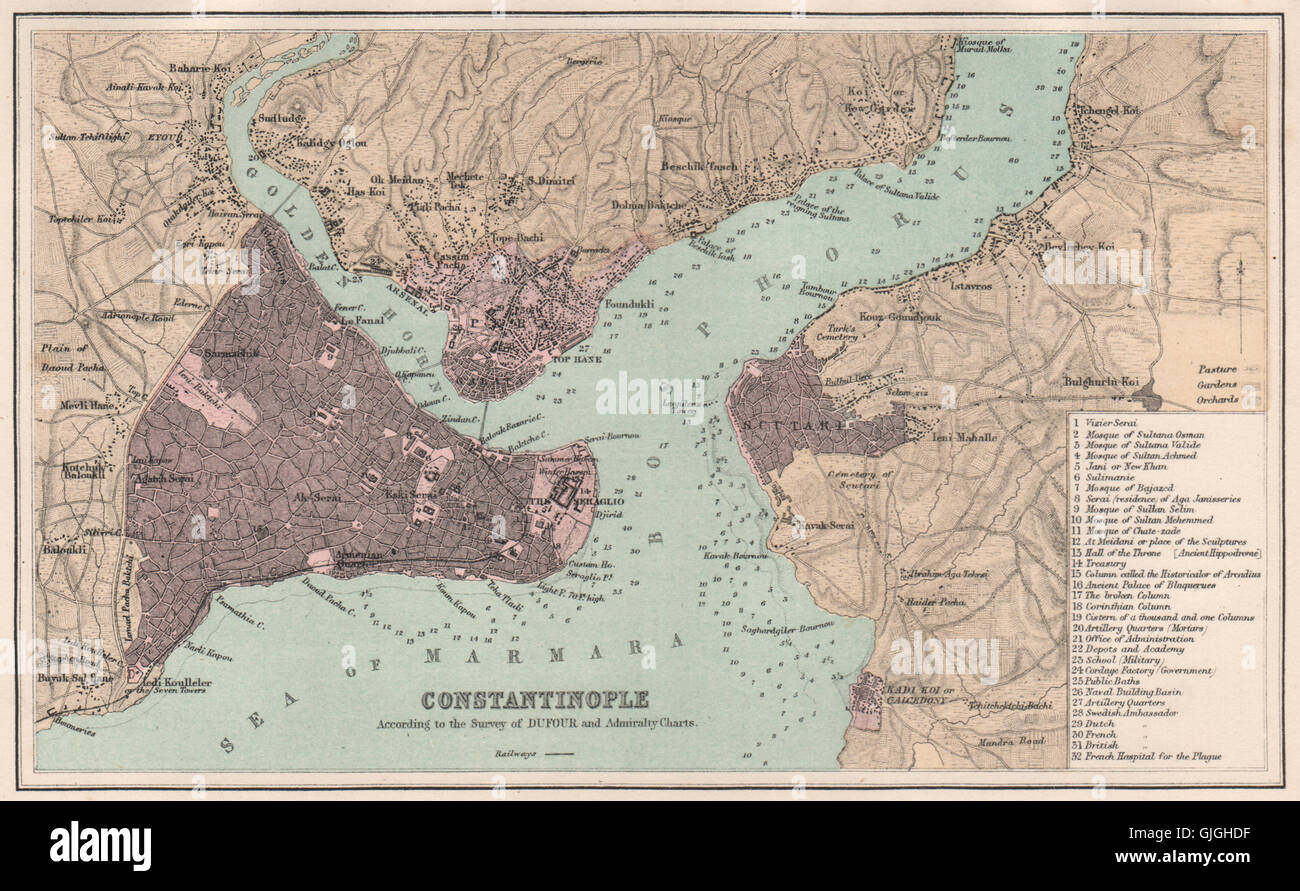 Vintage Map Of Constantinople Stock Photos & Vintage Map Of ...