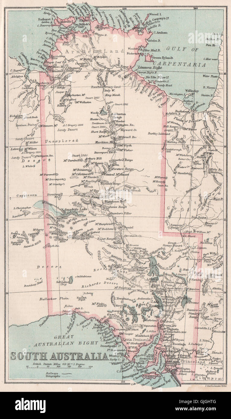 Map Of South Australia And Northern Territory.South Australia Including Northern Territory State Map Bartholomew