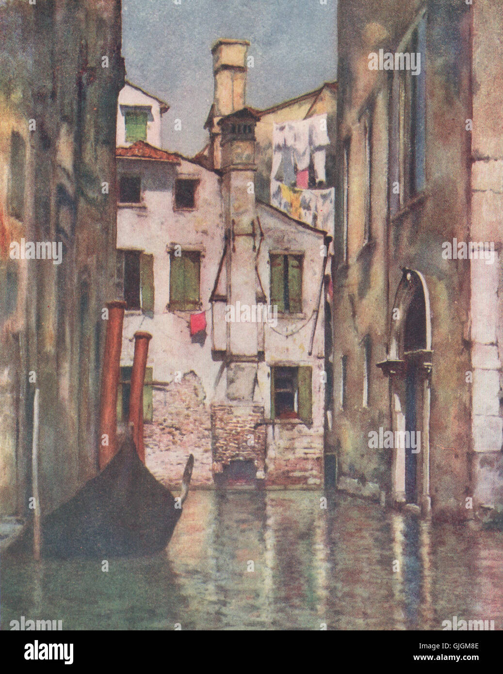 VENEZIA Venice 1916 old antique print /'A ruined Palazzo/' by Mortimer Menpes