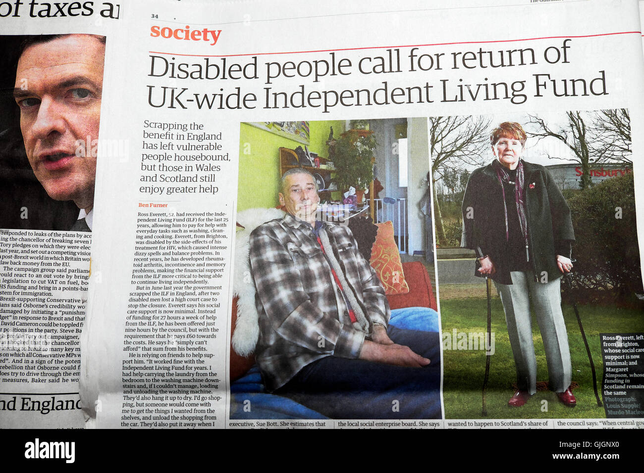 Article  'Disabled people call for return of UK wide Independent Living Fund'   in Guardian newspaper UK - Stock Image