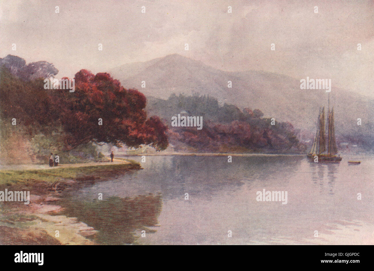 Whangaroa Harbour/' by Frank Wright New Zealand 1908 old print /'Waihi Bay