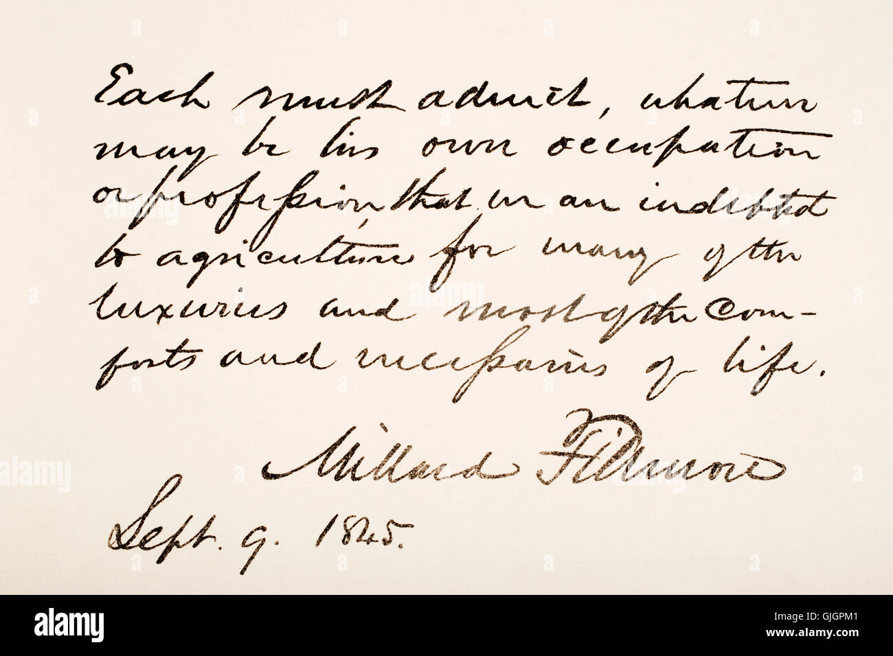 Millard Fillmore, 1800 - 1874. 13th president of the United States of America.  Hand writing sample. Stock Photo