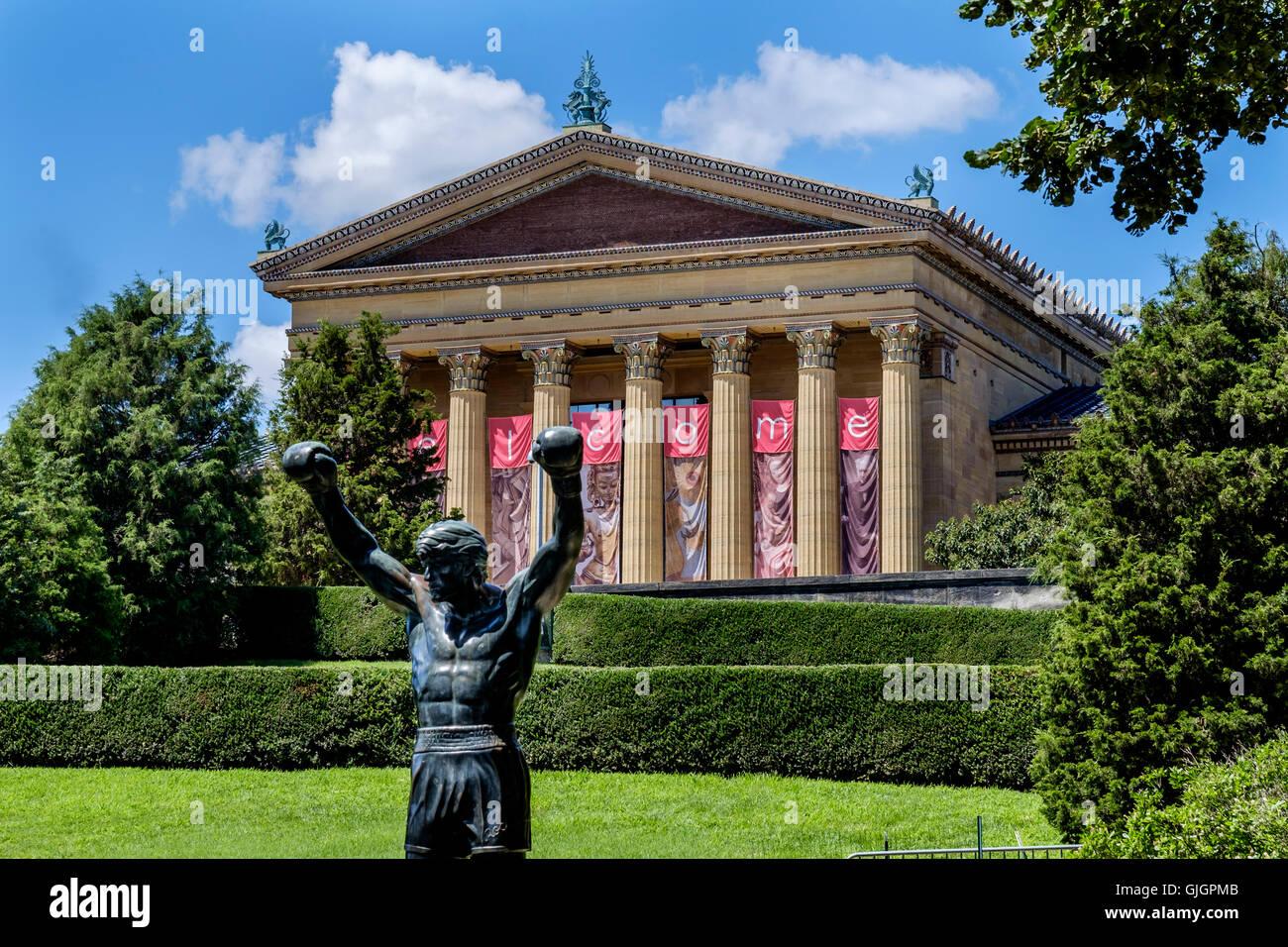 The bronze statue of Sylvester Stallone as Rocky Balboa outside the Philadelphia Museum of Art. - Stock Image