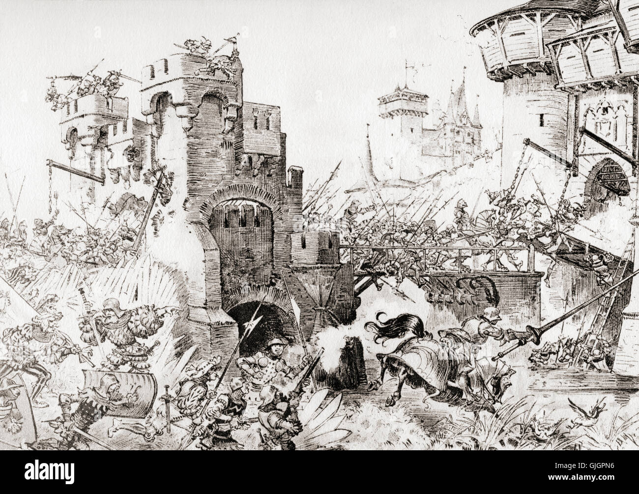 Prise de la Roche Clermaud or Taking the rock Clermond.  After the  illustration by Albert Robida for Gargantua - Stock Image