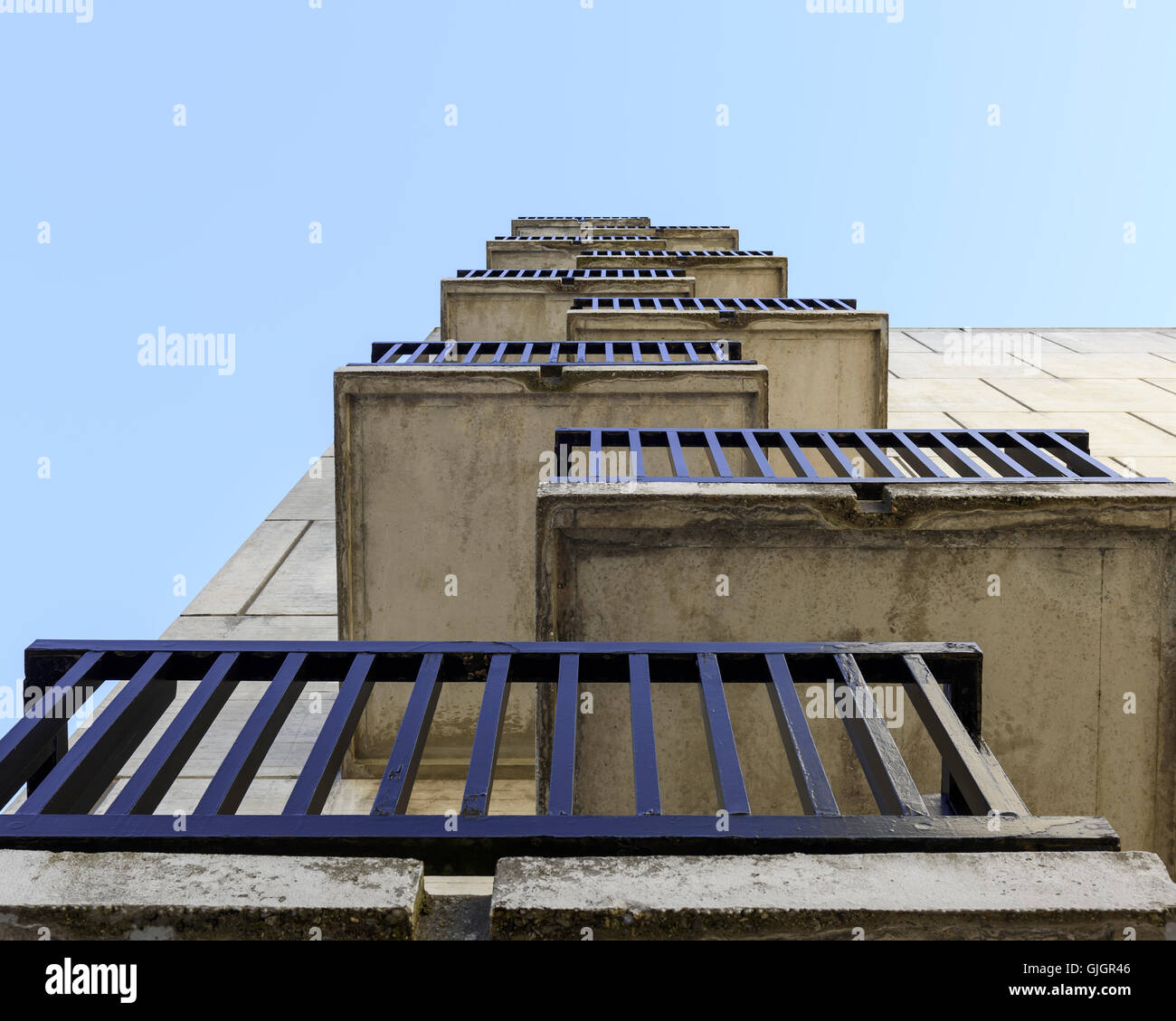 Balconies. Flaine, Flaine, France. Architect: Marcel Breuer, 1969. Stock Photo
