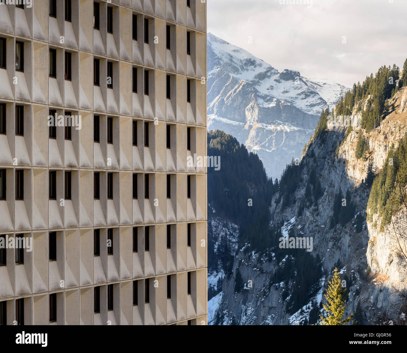 Building and mountains. Flaine, Flaine, France. Architect: Marcel Breuer, 1969. Stock Photo