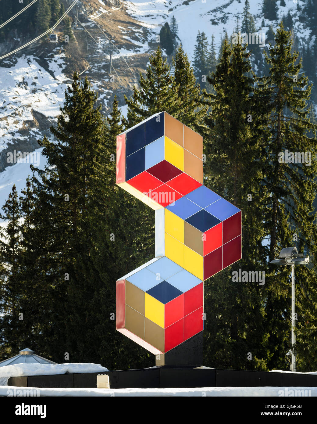 Sculpture by Victor Vasarely. Flaine, Flaine, France. Architect: Marcel Breuer, 1969. Stock Photo