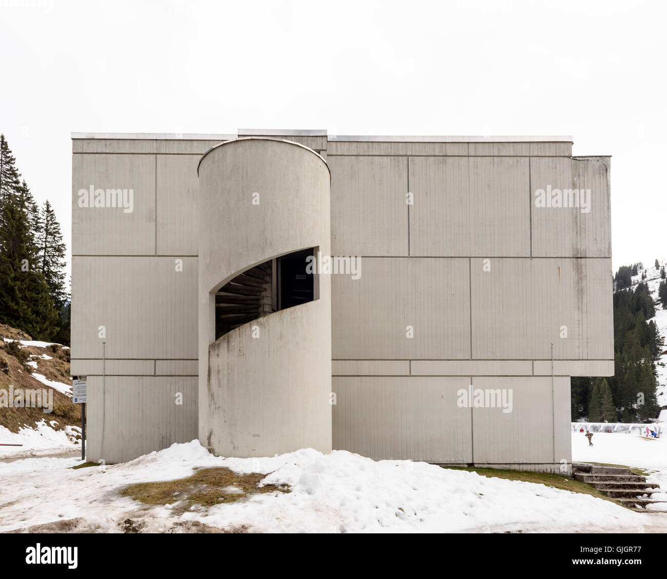 Building and staircase. Flaine, Flaine, France. Architect: Marcel Breuer, 1969. Stock Photo