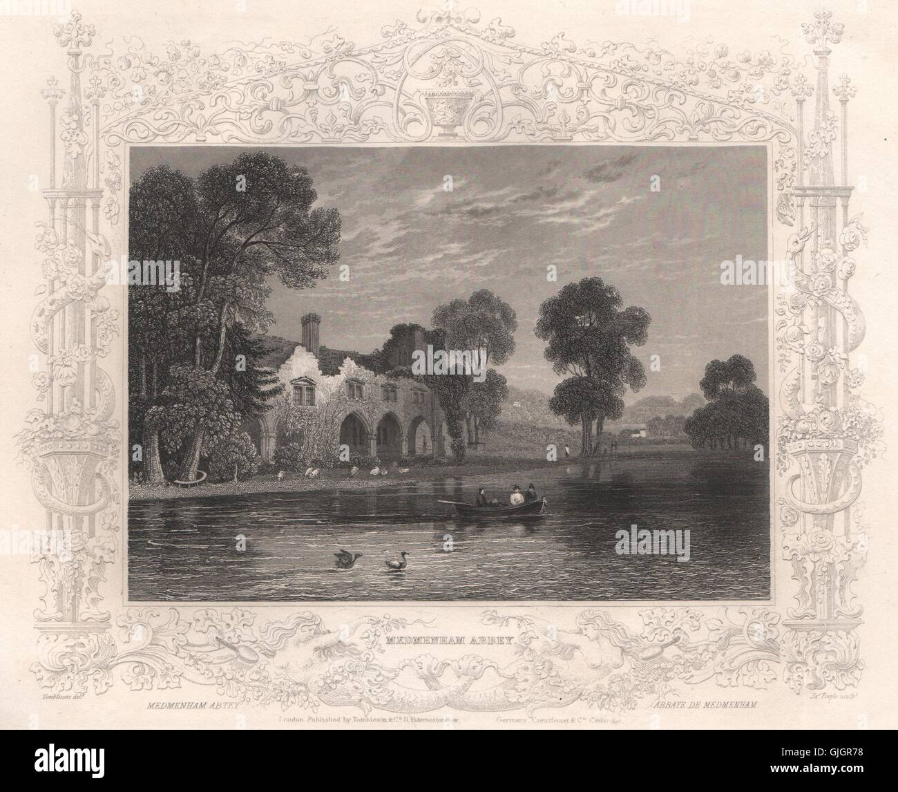 'Medmenham Abbey'. Buckinghamshire. Decorative view by William TOMBLESON, 1835 Stock Photo
